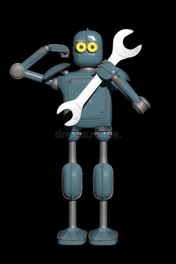 O robô do vintage do Grunge está respondendo a uma chamada de suporte técnico ilustração do vetor