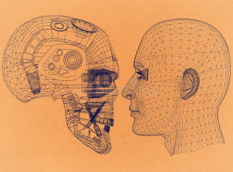 O robô e a cabeça humana projetam - o arquiteto retro Blueprint ilustração stock