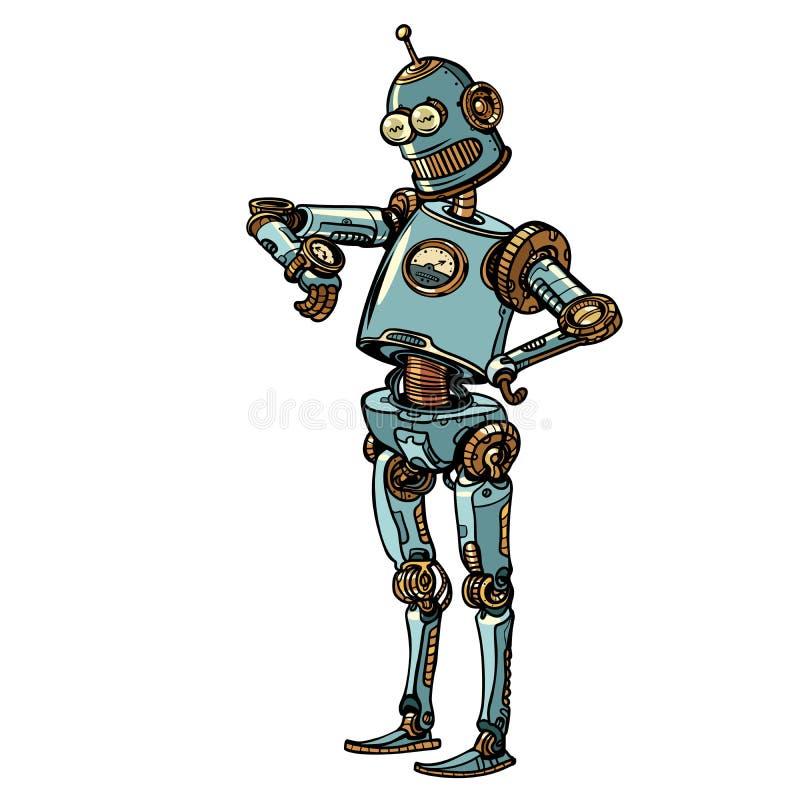 O robô olha o relógio de pulso, gestão de tempo atrasada ilustração stock