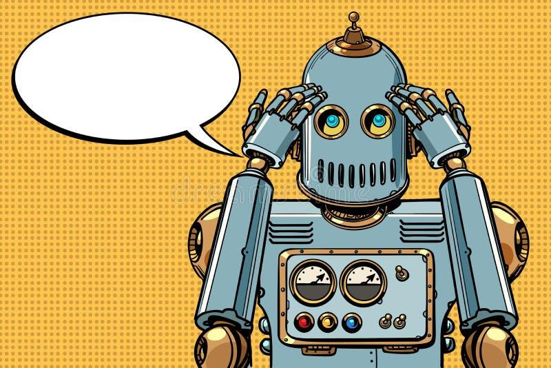 O robô pensa, pensador ilustração royalty free
