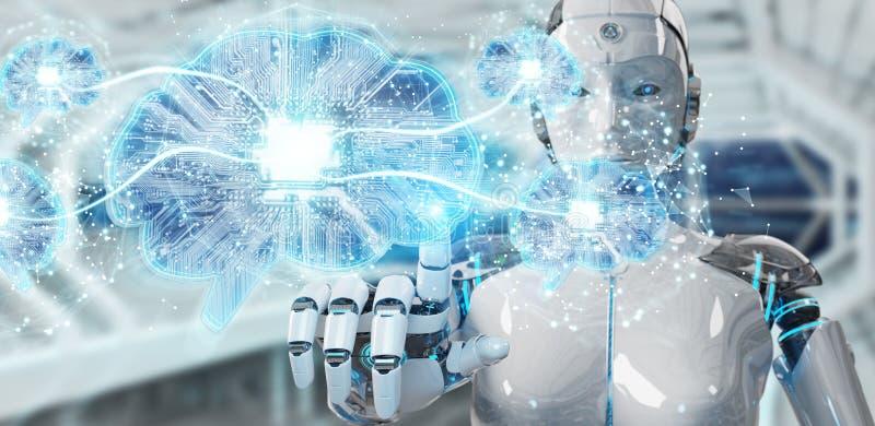 O robô que cria a inteligência artificial em um cérebro digital 3D ren ilustração royalty free