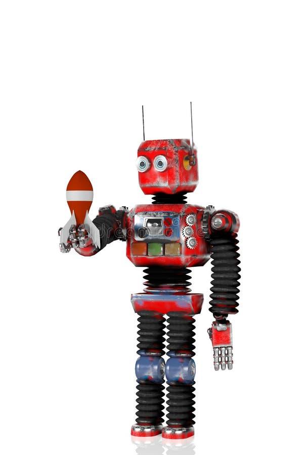 O robô retro com um foguete, rende, 3d ilustração royalty free