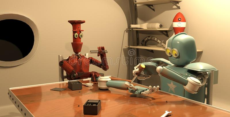 O robô retro está reparando sua mão, rendição 3d ilustração stock