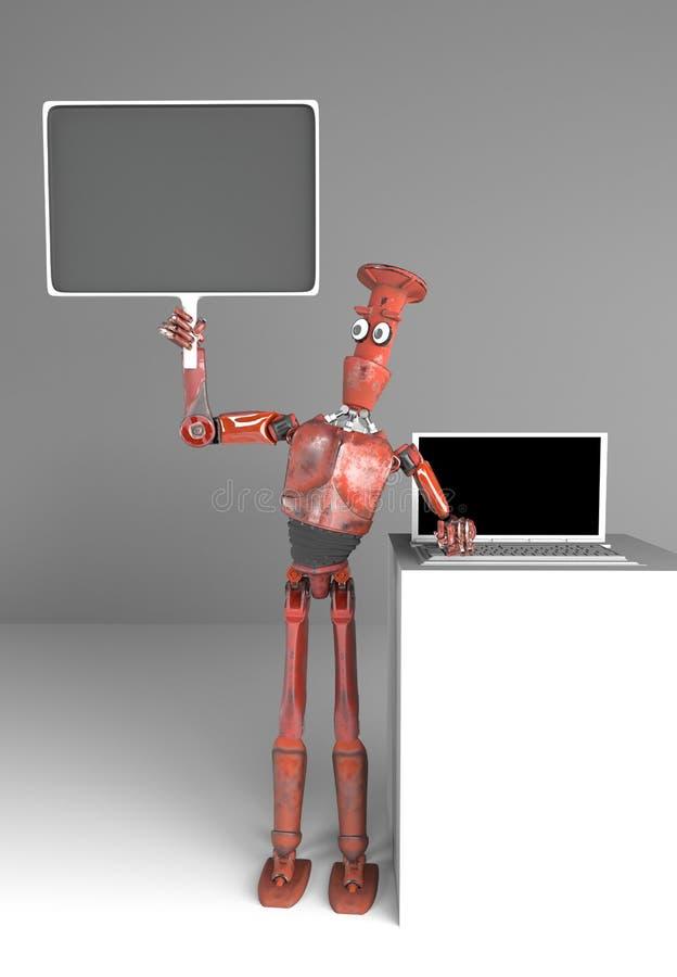 O robô retro vende os portáteis, 3d para render ilustração royalty free