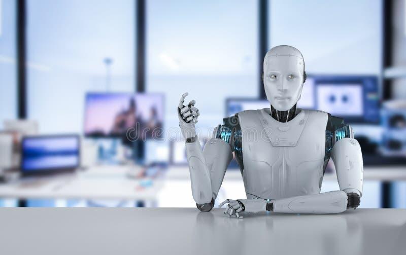 O robô senta-se atrás da tabela