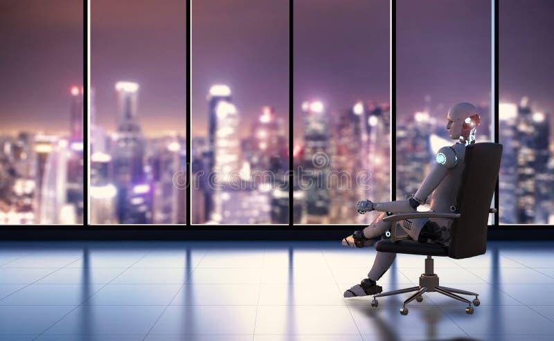 O robô senta-se na cadeira do escritório imagem de stock royalty free