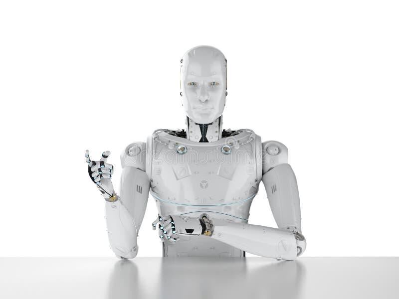 O robô senta-se no escritório ilustração royalty free