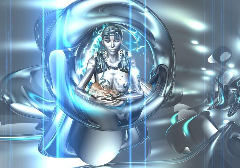 O robô consolida o bebê. ilustração royalty free
