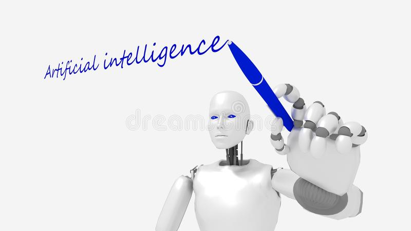 O robô fêmea branco escreve à palavra a inteligência artificial