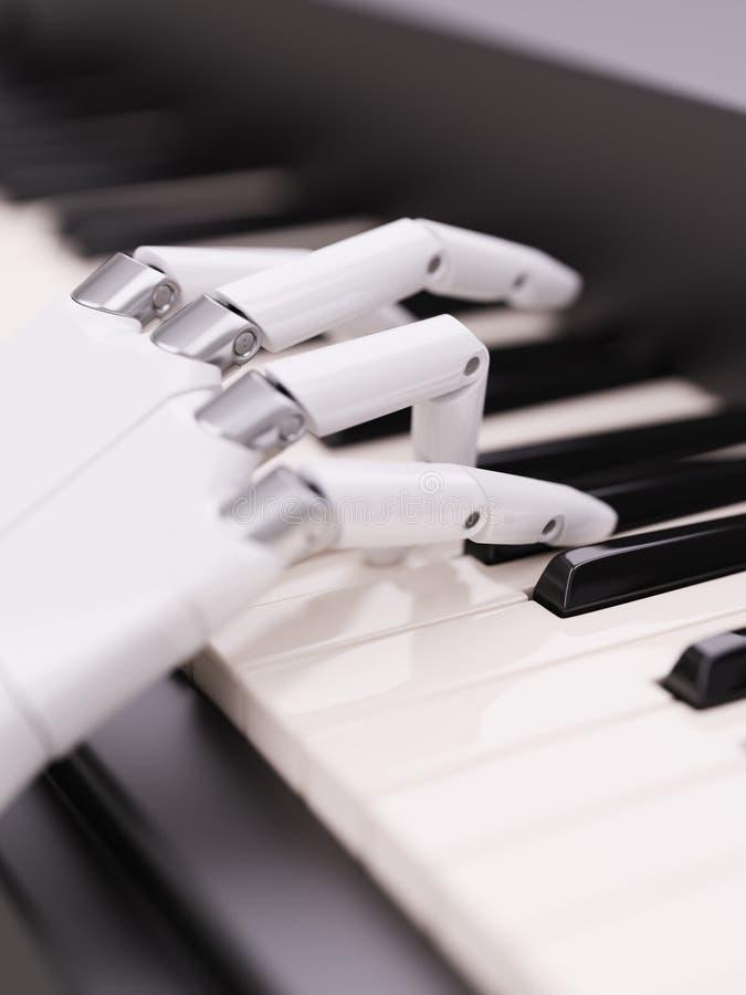 O robô joga a ilustração do conceito 3d da inteligência artificial do piano ilustração stock
