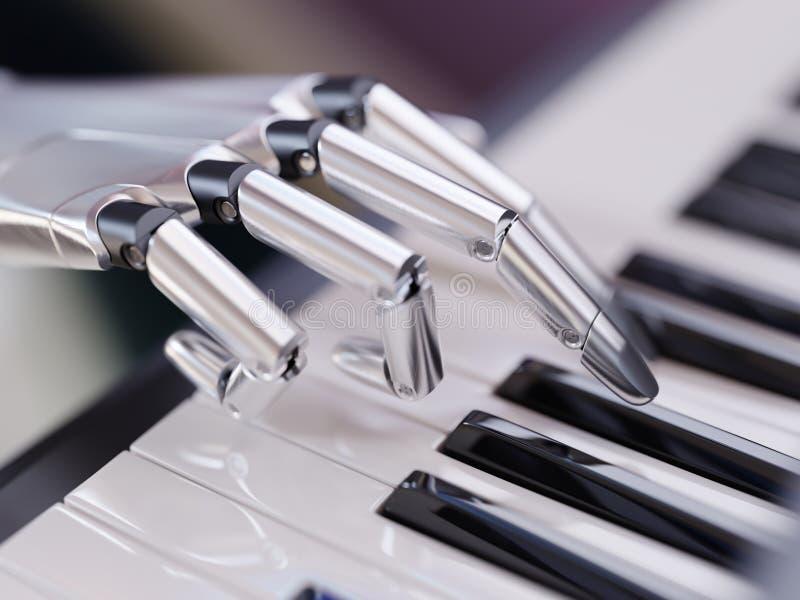 O robô joga a ilustração do conceito 3d da inteligência artificial do piano