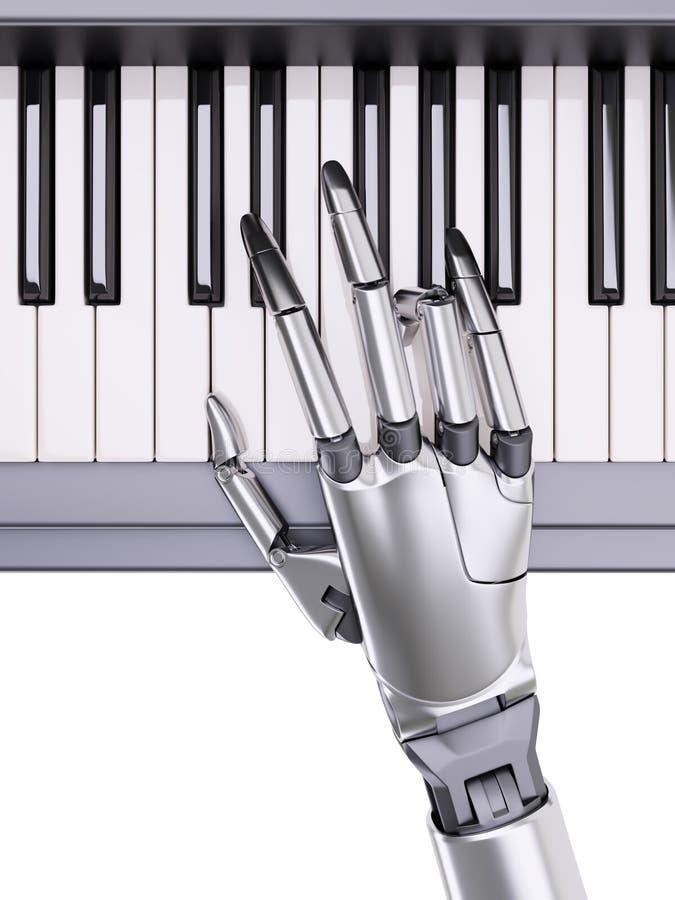 O robô joga a ilustração do conceito 3d da inteligência artificial do piano ilustração royalty free