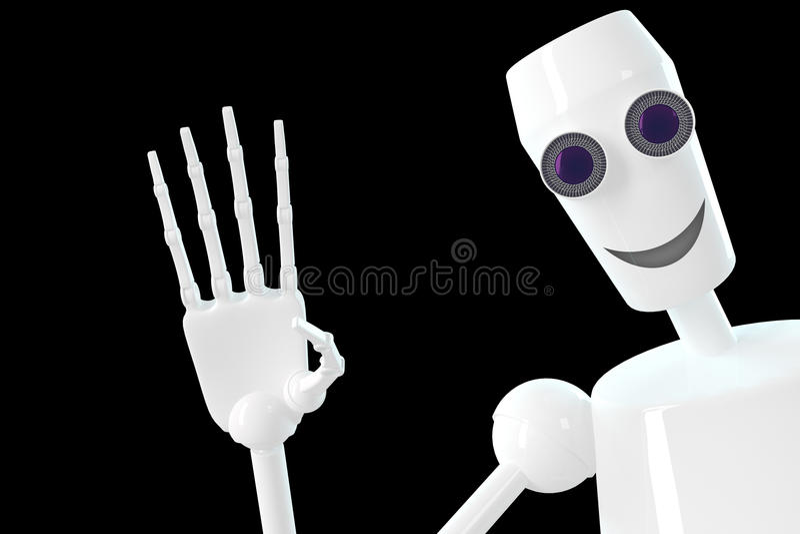 O robô mostra o gesto olá! foto de stock royalty free