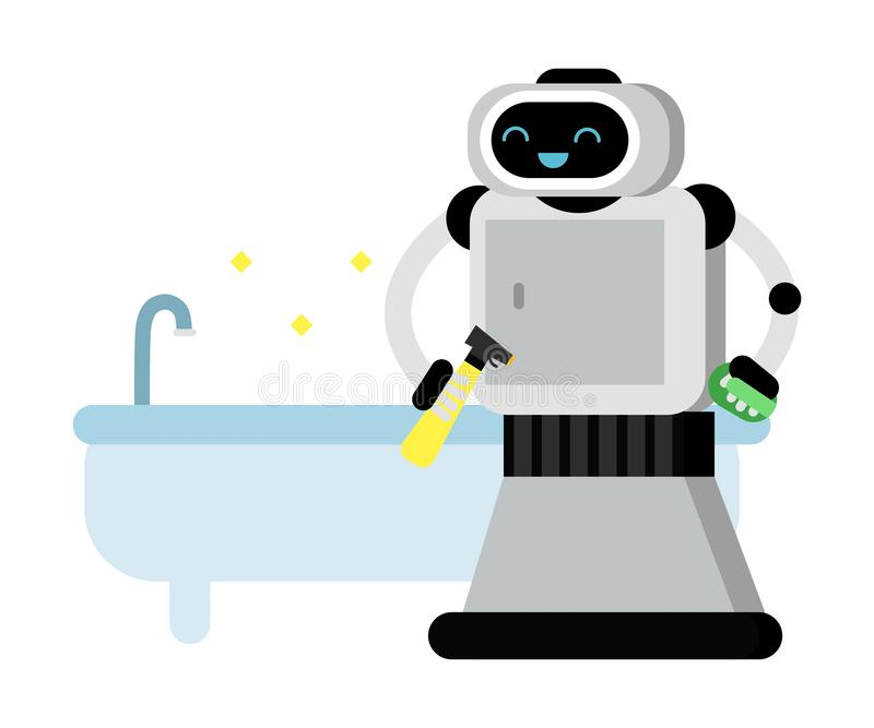 O robot-home-Assistant bonito fica perto de um banho limpo Ilustração vetorial ilustração do vetor