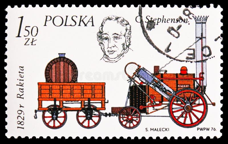 O Rocket de George Stephenson, 1829, história do serie locomotivo, cerca de 1976 imagem de stock royalty free