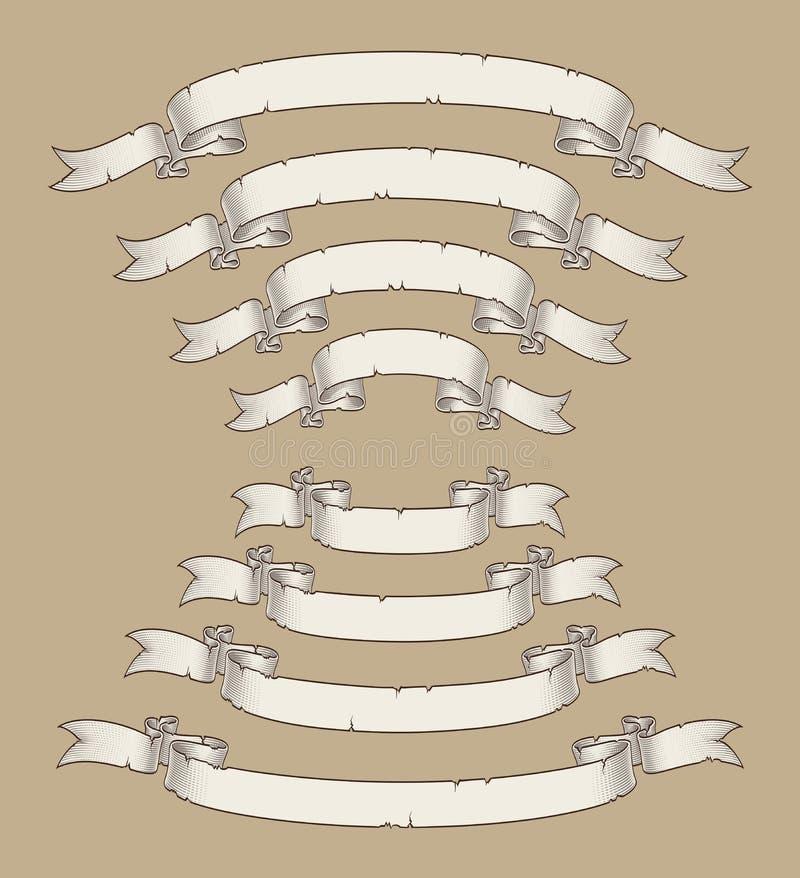 O rolo do papiro curvou o centro Uwards n para baixo quatro tamanhos 3 ilustração stock