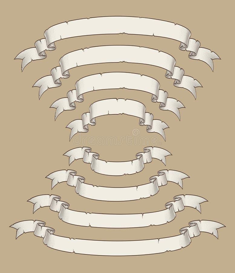 O rolo do papiro curvou o centro Uwards n para baixo quatro tamanhos 4 ilustração do vetor