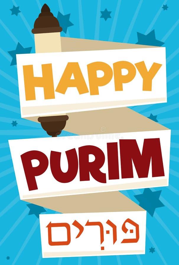 O rolo festivo gosta de uma fita para a celebração de Purim, ilustração do vetor ilustração do vetor