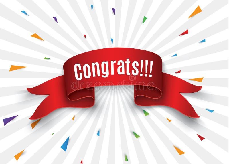 o rolo vermelho congrats no fundo branco Ilustração do vetor ilustração royalty free