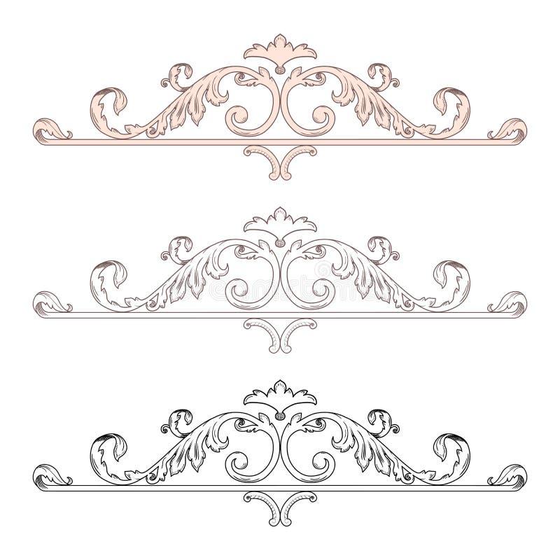 O rolo vitoriano barroco da folha do ornamento floral do monograma da beira do quadro do vintage gravou a tatuagem decorativa ret ilustração do vetor