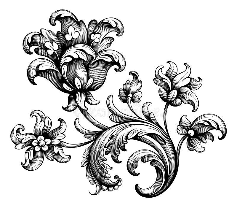 O rolo vitoriano barroco do ornamento floral da beira do quadro do vintage da flor da peônia da tulipa gravou o vetor filigrana d