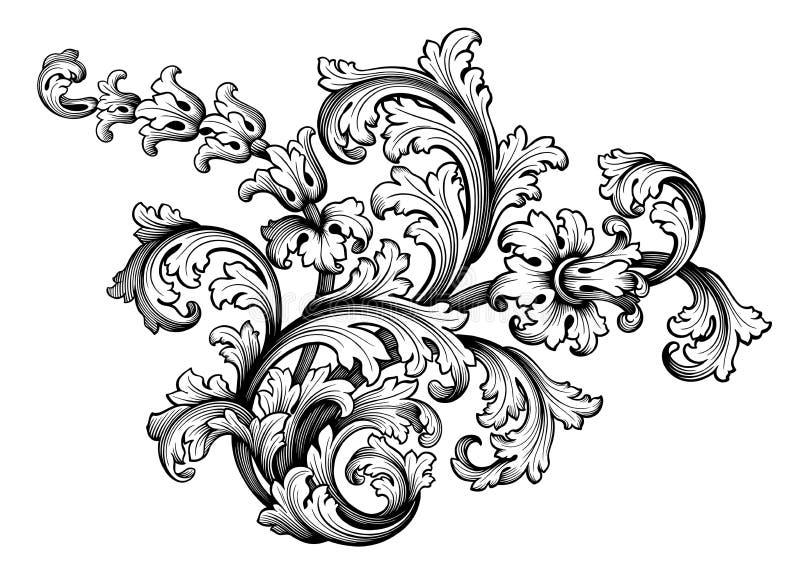 O rolo vitoriano barroco do ornamento floral da beira do quadro do vintage gravou o vetor caligráfico da tatuagem retro do teste  ilustração stock