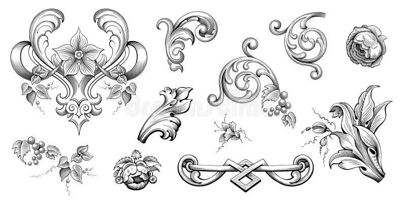 O rolo vitoriano barroco do ornamento floral da beira do quadro do vintage gravou o vetor caligr?fico da tatuagem retro do teste  ilustração stock