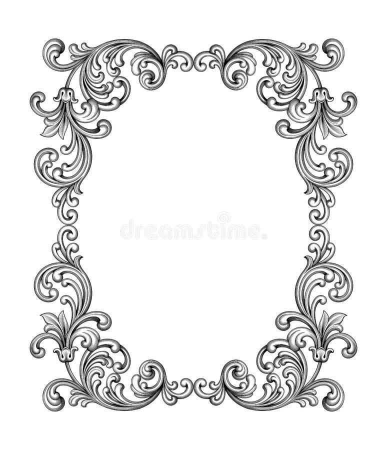 O rolo vitoriano barroco do ornamento floral do monograma da beira do quadro do vintage gravou o vetor caligráfico da tatuagem re ilustração royalty free