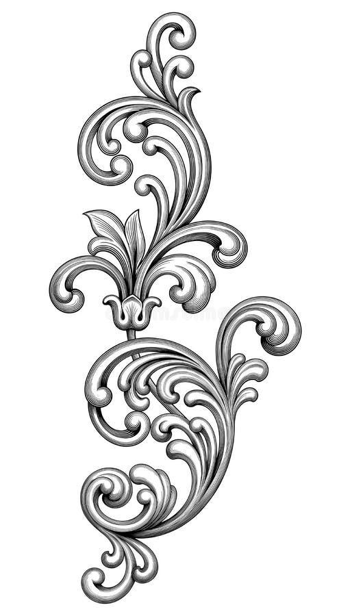 O rolo vitoriano barroco do ornamento floral do monograma da beira do quadro do vintage gravou a tatuagem retro do teste padrão c ilustração royalty free