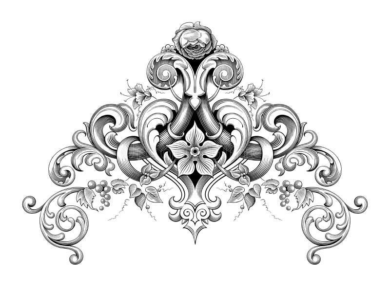 O rolo vitoriano barroco do ornamento floral do monograma do canto da beira do quadro do vintage gravou o heraldi caligráfico do  ilustração royalty free