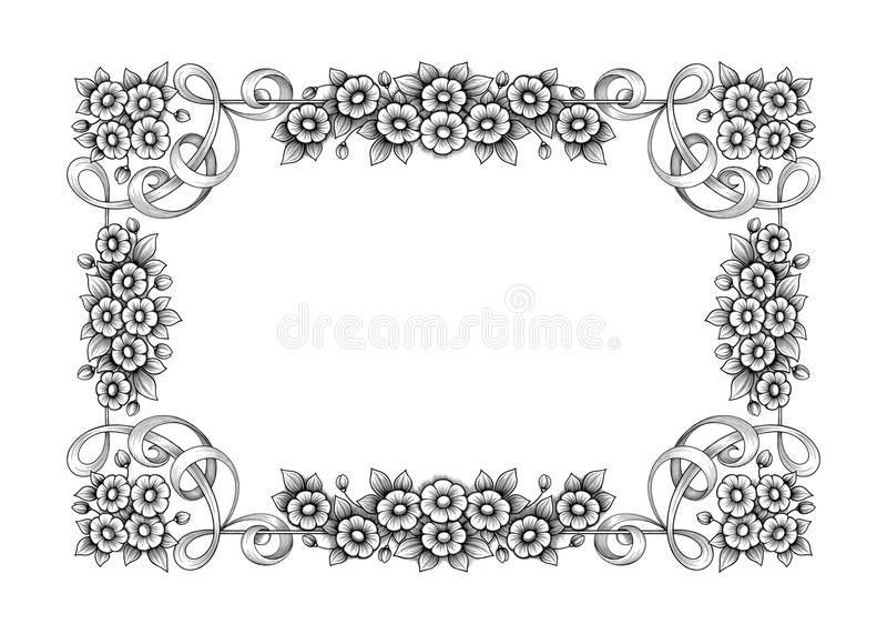 O rolo vitoriano barroco do ornamento floral do monograma da beira do quadro do vintage gravou o vetor caligráfico da tatuagem re ilustração stock