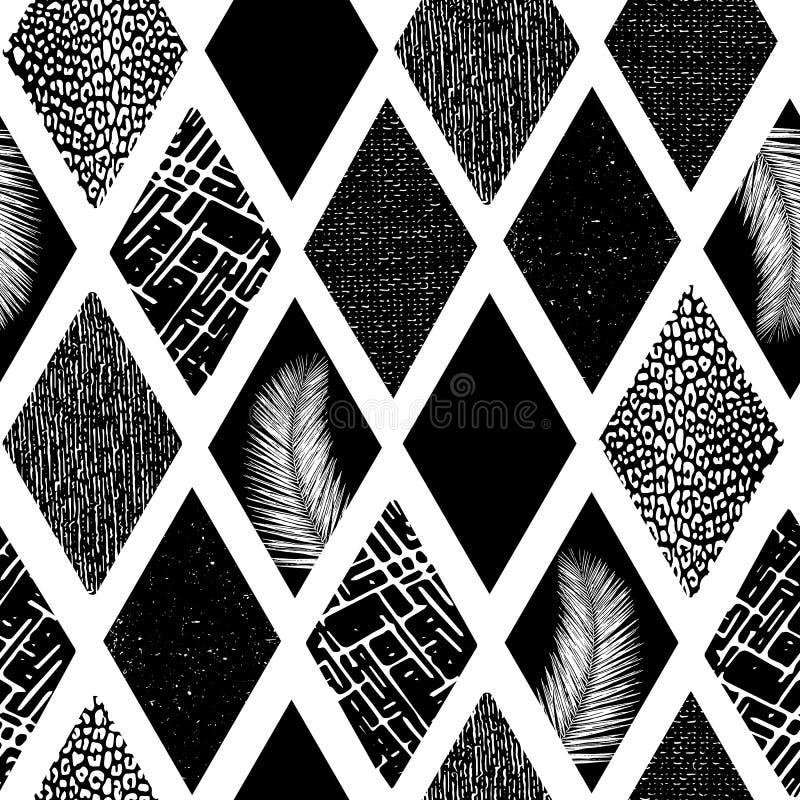 O rombo monocromático da colagem dá forma ao teste padrão sem emenda do vetor Formas textured geométricas do fundo contemporâneo  ilustração royalty free