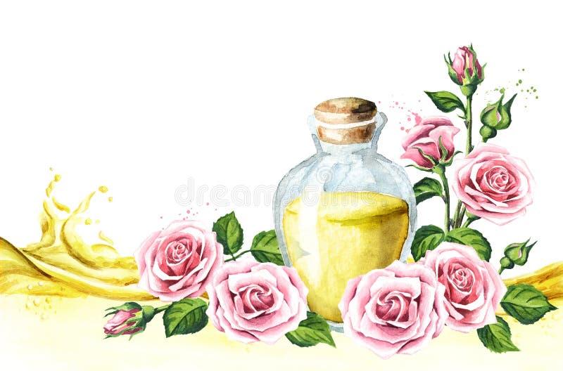 O rosa aumentou cartão da flor e do óleo essencial Termas e Aromatherapy Ilustração tirada mão da aquarela, isolada no fundo bran ilustração do vetor