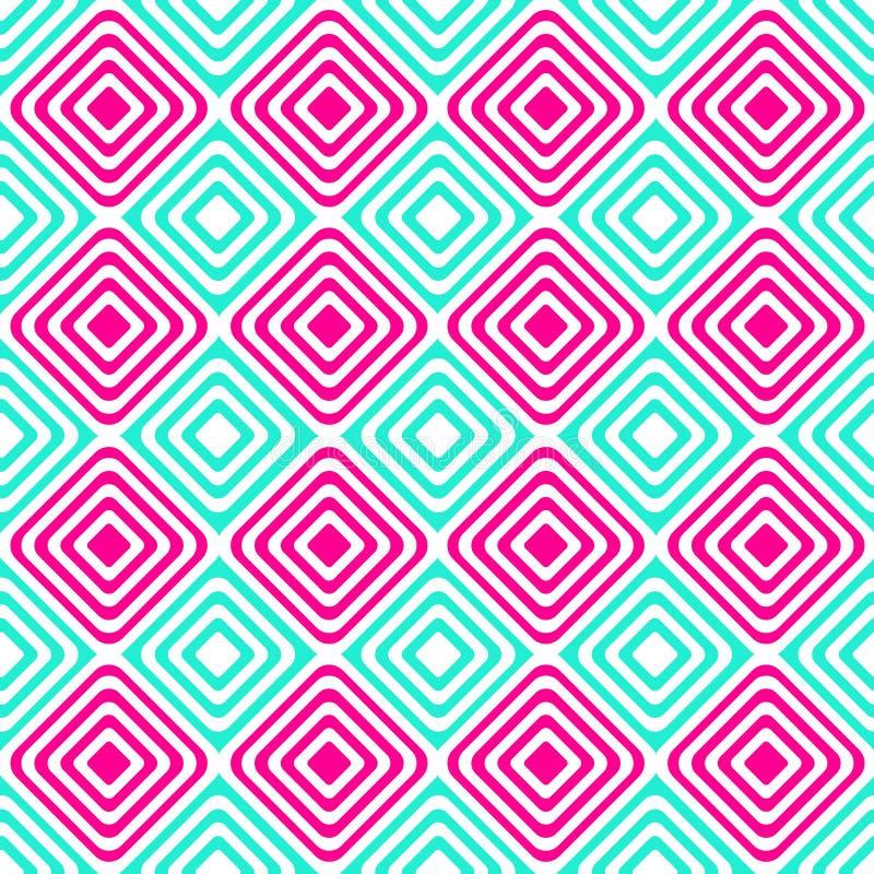 O rosa azul alterno esquadra o teste padrão sem emenda ilustração stock