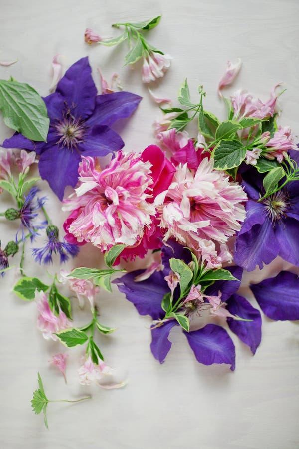 O rosa bonito, as peônias cor-de-rosa e a clematite roxa do violett florescem na placa de madeira branca fotografia de stock royalty free