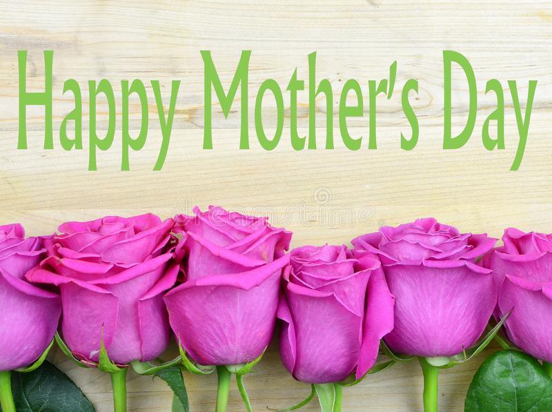 O rosa brilhante de envelhecimento aumentou as pétalas que formam uma beira em um fundo de madeira rústico para o dia de mães imagens de stock