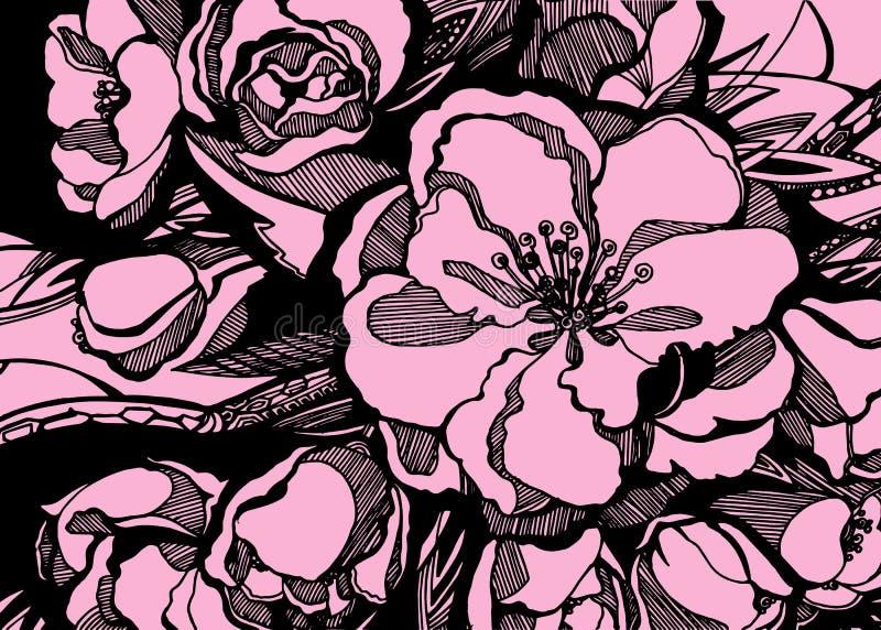 O rosa da flor de Sakura deixa gráficos dos galhos ilustração stock