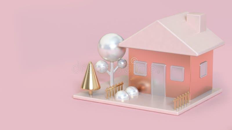 O rosa do sumário da casa, aumentou ouro das árvores brancas metálica e do ouro rendição cor-de-rosa do fundo 3d da pérola, ilustração stock