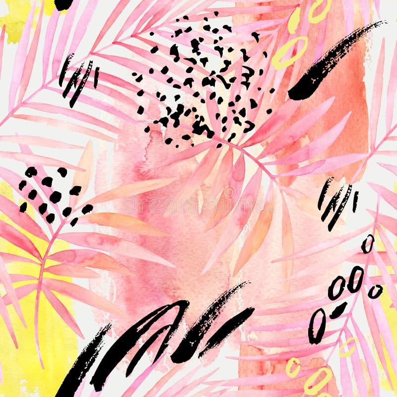 O rosa do Watercolour coloriu a pintura em folha de palmeira e gráfica dos elementos ilustração do vetor