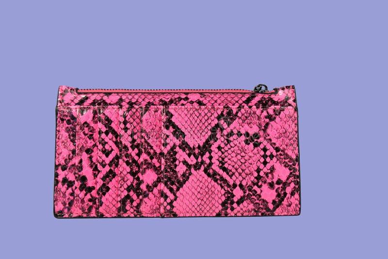 O rosa e a cor preta imprimiram o saco da bolsa das senhoras imagem de stock