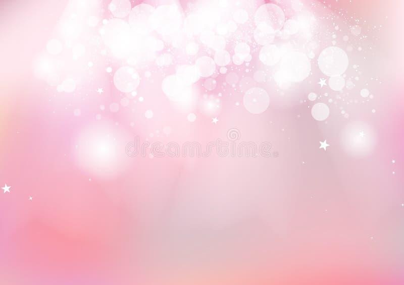 O rosa, faísca de incandescência das estrelas de Bokeh dispersa o borrão pastel romântico c ilustração stock