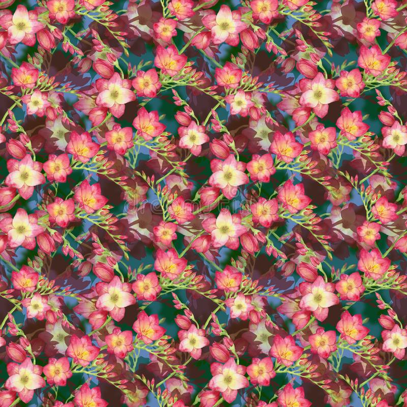 O rosa floresce a frésia, ramo bonito em um fundo vermelho, ilustração tropica sem emenda do ramalhete da aquarela do teste padrã ilustração do vetor