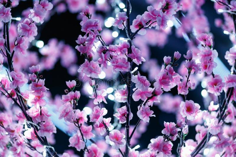 O rosa floresceu o candelabro com luzes brancas pequenas fotos de stock