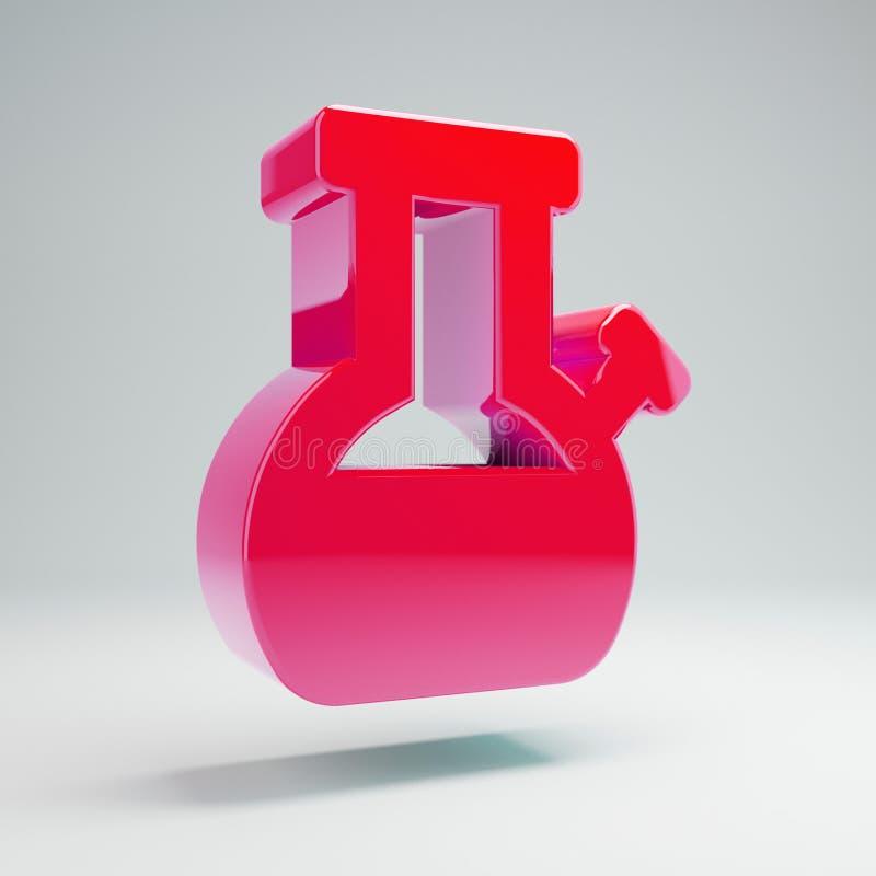 O rosa quente lustroso volumétrico Bong o ícone isolado no fundo branco ilustração stock