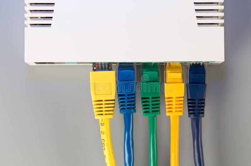 O roteador do escritório conectado a cinco multi-coloriu o cabo de remendo com conectores RJ45 fotografia de stock royalty free