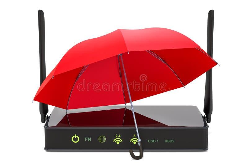 O roteador sob o guarda-chuva, Internet protege o conceito rendição 3d ilustração royalty free