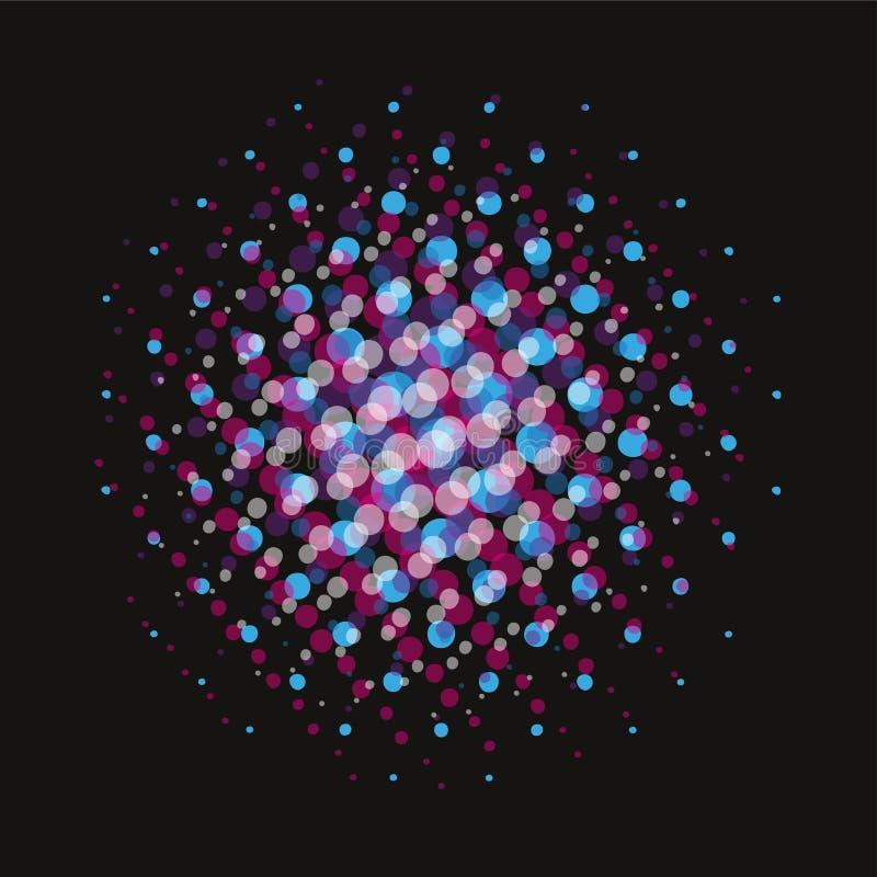 O roxo azul pontilhou a textura cômica manchada reticulação do pop art no fundo preto ilustração royalty free