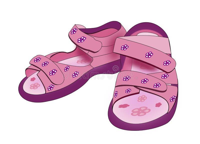 O roxo caçoa sandálias ilustração royalty free