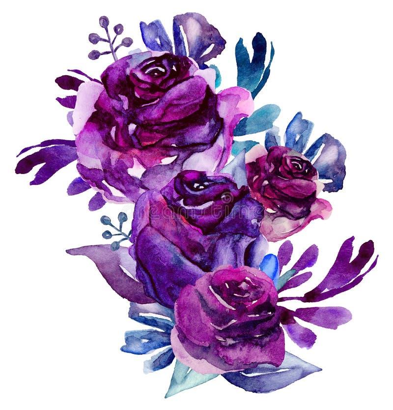 O roxo da aquarela floresce o clipart Ilustração do ramalhete floral ilustração royalty free