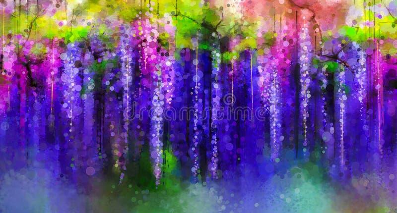 O roxo da mola floresce a glicínia Pintura da aguarela ilustração do vetor